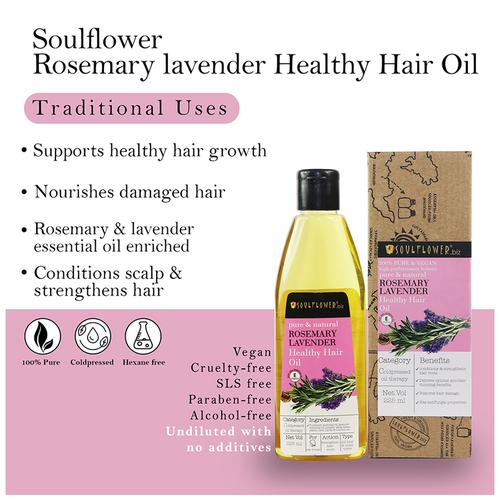 Soulflower Cold Pressed Rosemary Lavender Healthy Hair Oil For Thick & Strong Hair, 225 ml