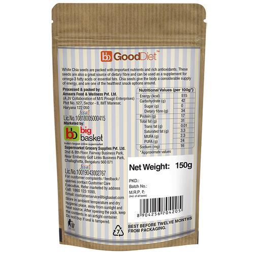 GoodDiet Chia Seeds - White, 150 g