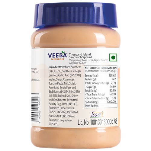 Veeba Sandwich Spread - Thousand Island, 280 g