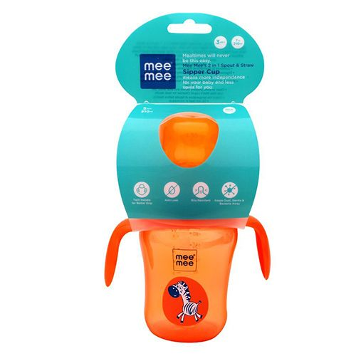 Mee Mee Baby 2-In-1 Spout & Straw Sipper Cup - Orange, 210 ml