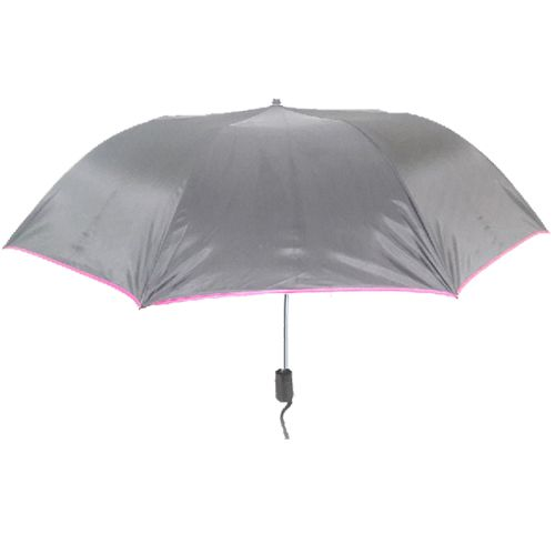 Agromech Super 2 Fold Umbrella Auto Piping Plain - Pink, 24 inch