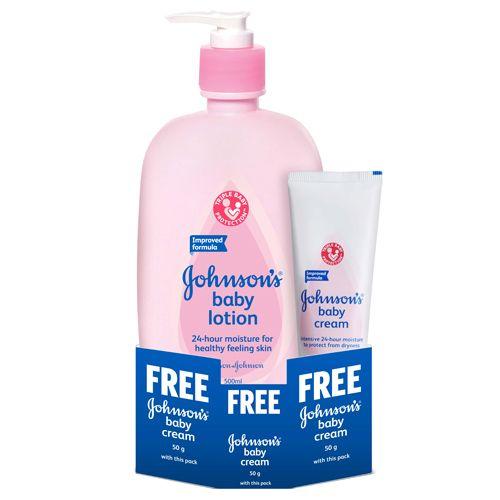 Johnson's Baby Lotion, 500 ml Get 50 gm Baby Cream Free