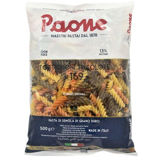Paone Pasta - Fusilli Tortiglioni Tricolor, 500 g Pillow Pouch