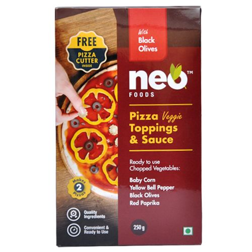 Neo Pizza Topping & Sauce - Black Olives, Red, 250 g Standee pack