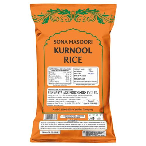 Bulk Sona Masoori Steam Rice - Orange, 25 kg