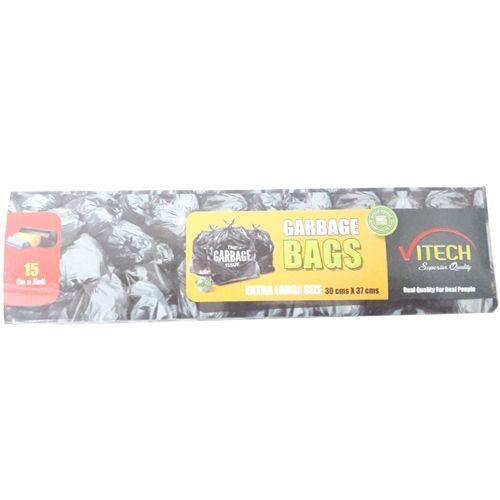 Vitech Garbage Dustbin Black Bags 30 cm x 37 cm - Extra Large, 15 pcs