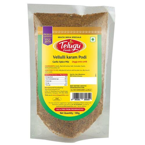 Telugu Pickles Vellulli Karam - Garlic Spice Mix, 100 g