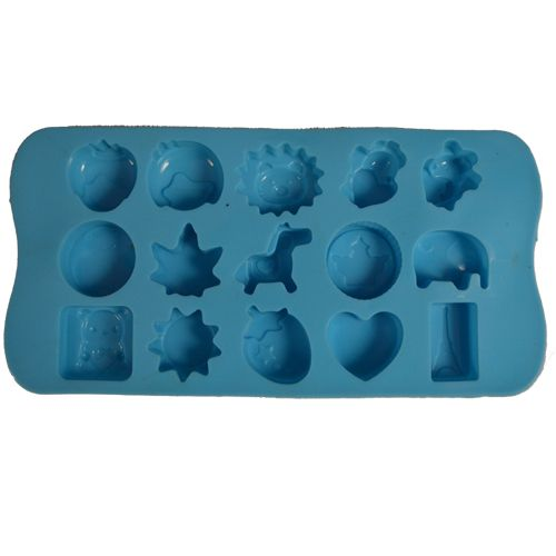 Cook4U Chocolate/Ice Mould - Silicon, Multi Shapes, Blue, 1 pc