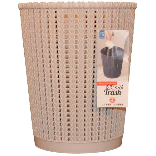 Collection Dustbin/Waste Paper Bucket - Plastic, Cream, BB225, 1 pc