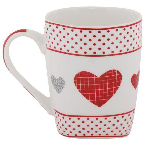 Rslee Coffee-Tea-Milk Mug - White with Red Dots & Heart Print, 275 ml