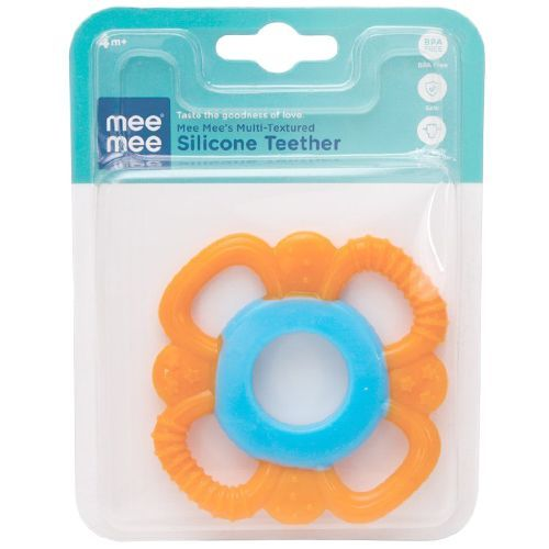 Mee Mee Multi-Textured Silicone Teether - Orange, 1 pc
