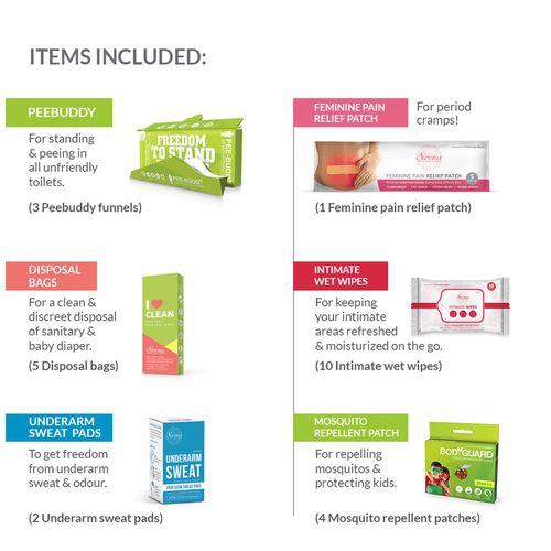 Peebuddy Standard Travel Hygiene Kit For Her, 210 g
