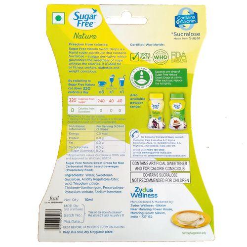 Sugar free Zero Calorie Sweetener & Sugar Substitute - Liquid Drops - Natura, 10 ml Tube