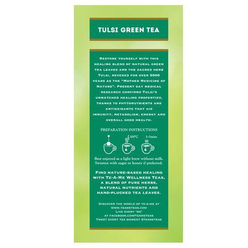 Te-A-Me Tea Bags - Wellness Infusions, Tulsi Green Tea, 37 5 g (25 Bags x  1 5 g each)