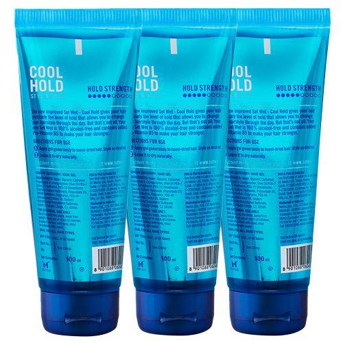 Set Wet Hair Gel - Cool Hold, 100 ml Pack of 3