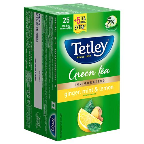 Tetley Green Tea - Ginger Mint Lemon, 25 Bags x 2 gm Each 50 gm