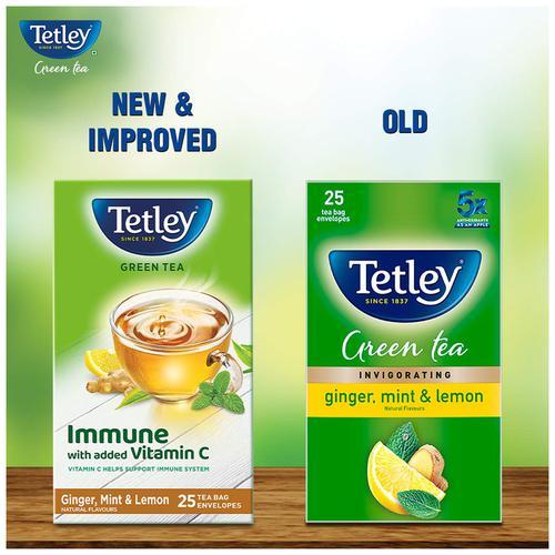 Tetley Green Tea - Ginger Mint Lemon, 50 g (25 Bags x 2 g each)