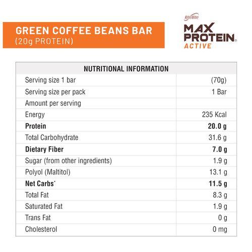 RiteBite Max Protein Active Green Coffee Beans Bar, 70 gm