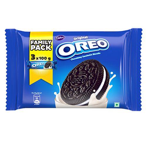 Cadbury Oreo - Creme Biscuit, Vanilla, Family Pack, 300 g Pack of 3