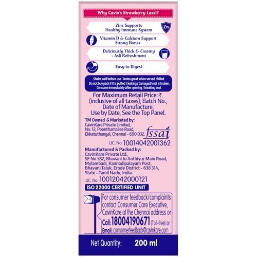 Cavins Lassi - Strawberry, 180 ml