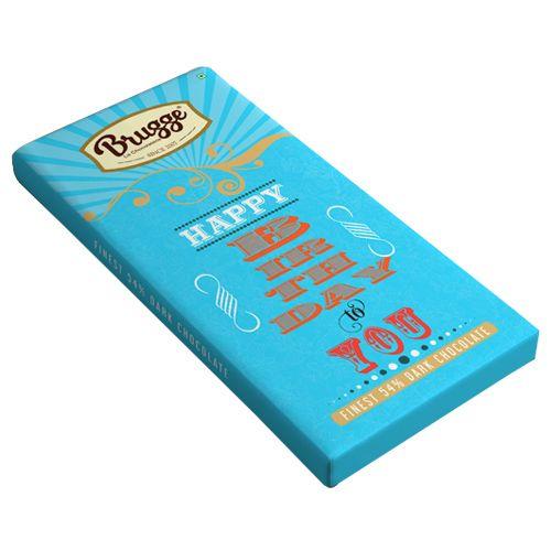 Brugge La Chocolaterie Happy Birthday To You - Finest, 54% Dark Chocolate, 80 g