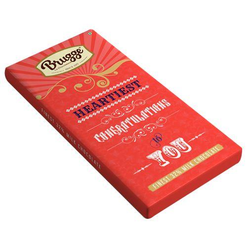 Brugge La Chocolaterie Heartiest Congratulation to You - Finest, 32% Milk Chocolate, 80 g