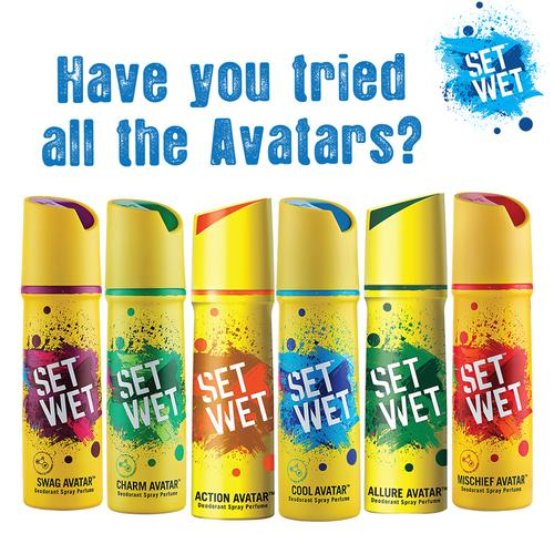 Set Wet Cool, Charm and Mischief Avatar Deodorant & Body Spray Perfume For Men, 150 ml Pack of 3