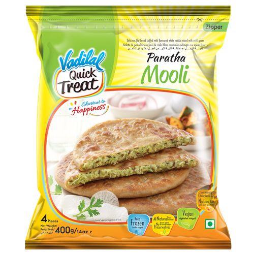 Vadilal Quick Treat Frozen Food - Paratha, Mooli, 400 g
