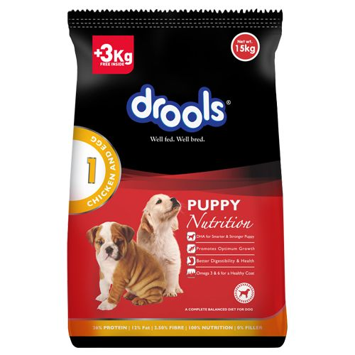 Drools Dog Food - Chicken & Egg, Puppy, Limited Offer Stock, 15 kg 3 kg  Extra Free