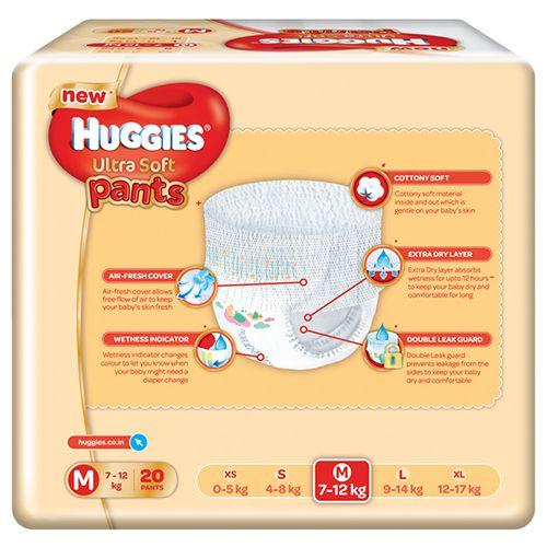 Huggies Diapers - Medium Size, Premium, Ultra Soft Pants, 20 pcs