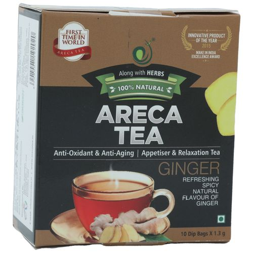 Areca Tea 100% Natural Tea - Ginger Flavour, 13 g (10 Bags x 1.3 g each)