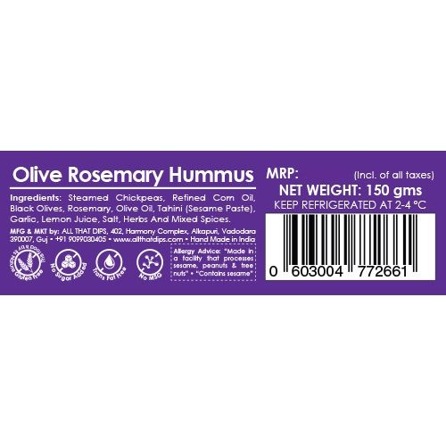 All That Dips All Natural Hummus - Olive Rosemary, 150 g