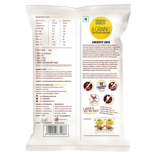 The Green Snack Co. Healthy Snacks - Six Grain Stix, Smokey Bbq, 85 gm