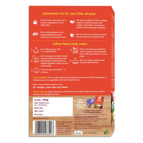 Mimmo Organics Pasta - Veggie, Alphabets, 250 gm