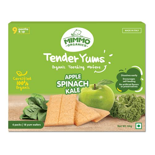 Mimmo Organics Teething Wafers - Apple, Spinach & Kale, Tender Yums, 100 gm