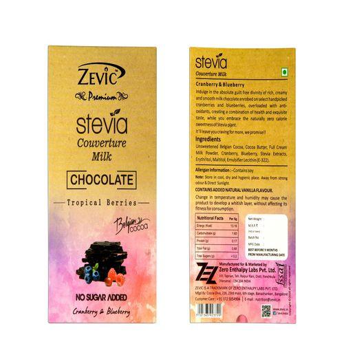 Zevic Premium Chocolate - Milk Couverture, Cranberry & Blueberry, 18 pieces, 90 g Box
