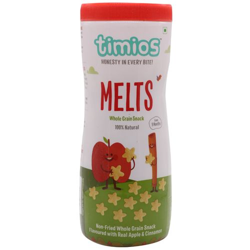 Timios Snacks - Melts, Apple & Cinnamon, 9+ Months, 100% Natural & Healthy, 50 g