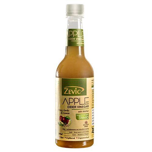 Zevic Vinegar - Apple Cider, Ginger, Garlic & Lemon, With Mother, 500 ml