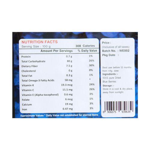 Wonderelements Blueberries - Dried, 150 gm