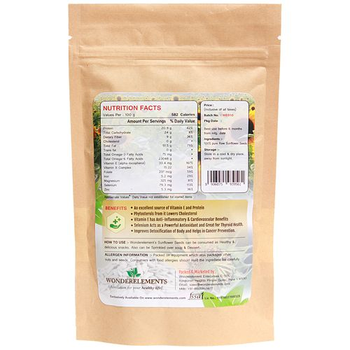 Wonderelements Sunflower Seeds - Raw, 150 g
