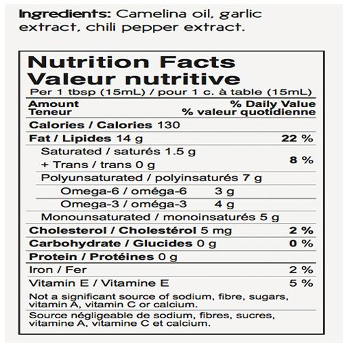 Three Farmers Camelina Oil Roasted Garlic & Chili 250g, Cold Pressed,from Canada, 250 ml