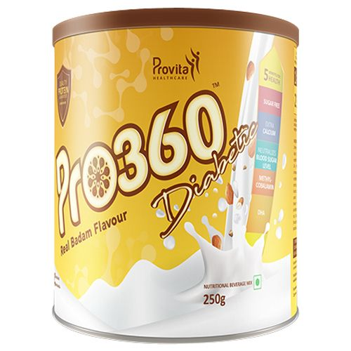 Pro360 Nutritional Beverage Mix - For Diabetic, Real Badam Flavour, 250 g