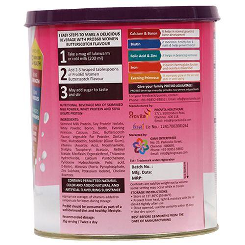 Pro360 Nutritional Beverage Mix - For Women, Butterscotch Flavour, 250 g