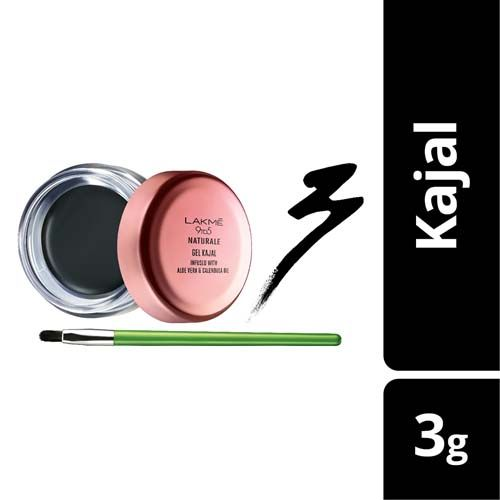 Lakme Kajal - Gel, 9 To 5 Naturale, Black, 3 gm