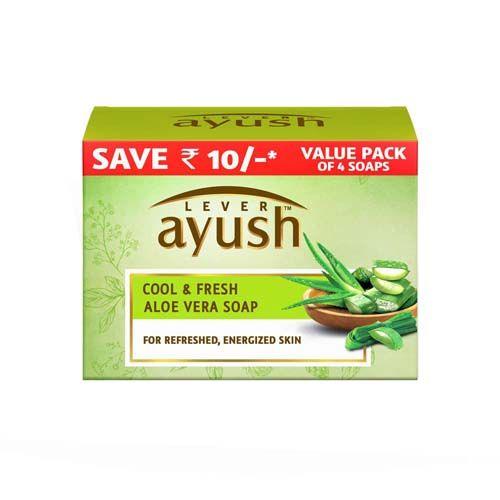 Lever Ayush Cool & Natural Ayurvedic Fresh Aloe Vera Soap, 100 gm Pack of 4