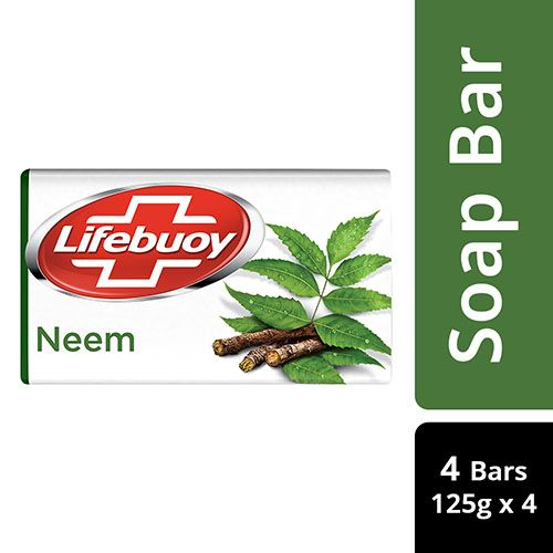 Lifebuoy Soap - Neem, 100% Skin Protection, 125 g Pack of 4