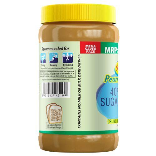 Sundrop Peanut Butter - Crunchy, 40% Less Sugar & Salt, 924 gm