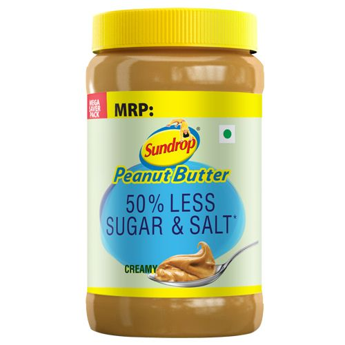 Sundrop Peanut Butter - Creamy, 50% Less Sugar & Salt, 924 gm