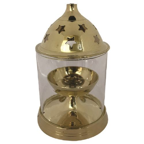 Om Bhakti Akhand Diya - Brass, Medium, 200 ml