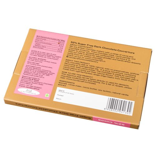 Cocoacraft Chocolate - 52% Cocoa, Sugar Free, Dark Chocolate Couverture, Premium, From-The-Bean Chocolate Slab, 210 gm